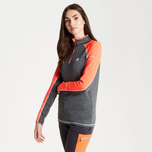 Women's Involved Core Stretch Half Zip Midlayer - Charcoal Fiery Coral
